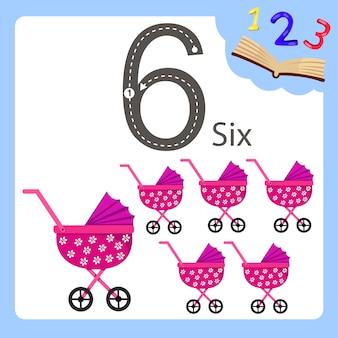 Illustratore di sei carrozzine numero