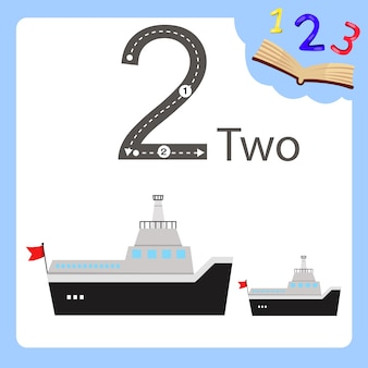 Illustratore di un traghetto di due numeri