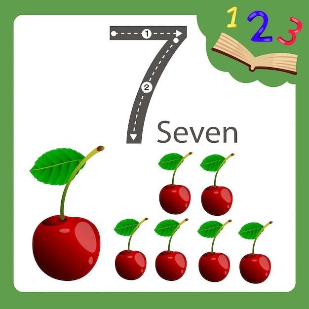 Illustratore di una ciliegia a sette numeri