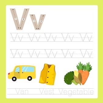 Illustratore di v esercizio vocabolario di cartone animato az