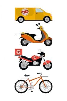 Illustratore di vettore dei veicoli di servizio di consegna