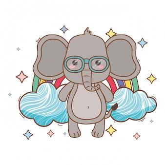 Illustratore di vettore del fumetto dell'elefante