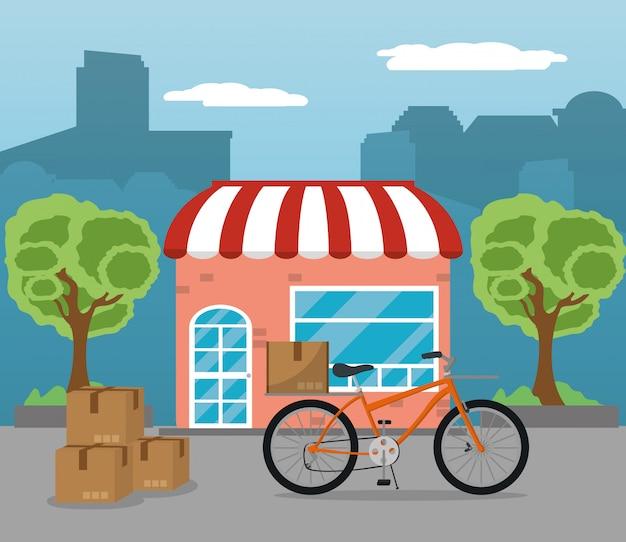 Illustratore di vettore di servizio di consegna della città
