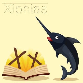 Illustratore di x per il vocabolario di iphias di x.