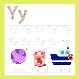 Illustratore di y esercita il vocabolario dei cartoni animati az