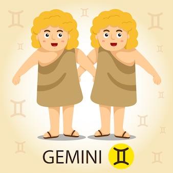 Illustratore di zodiaco con gemelli