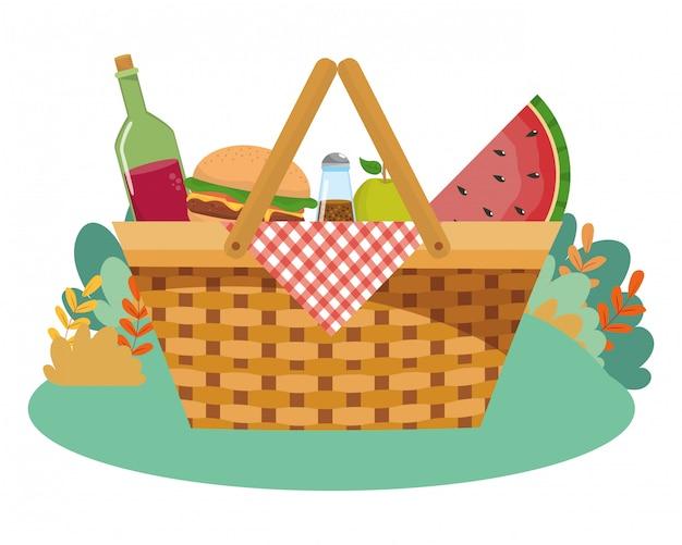 Illustratore isolato di vettore del cestino di picnic
