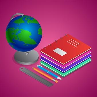 Illustrazione 3d del supporto del globo del mondo con i taccuini, la scala del righello e la matita
