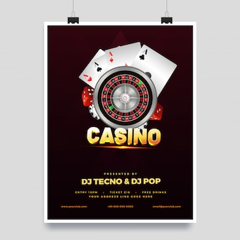 Illustrazione 3d del testo dorato casino con la ruota della roulette