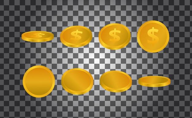 Illustrazione 3d isolata soldi dorati da qualsiasi prospettiva