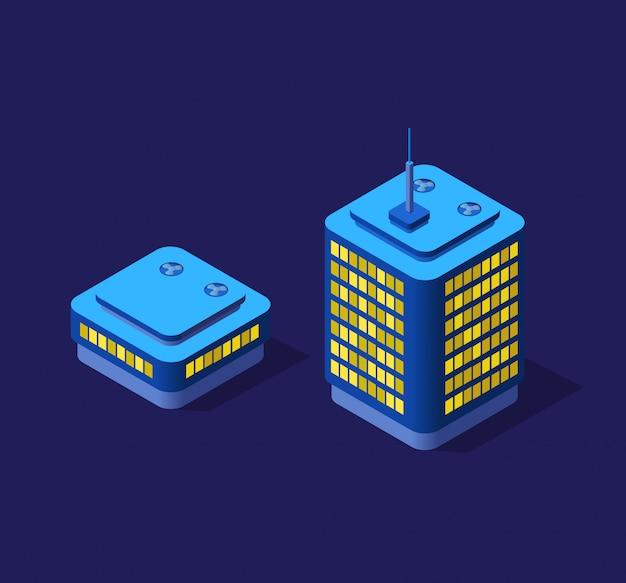 Illustrazione 3d isometrica viola ultra paesaggio città futura