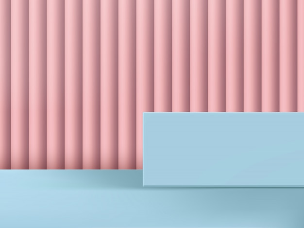Illustrazione 3d rosa & azzurro studio shot platform & background