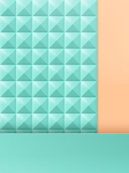 Illustrazione 3d trendy studio shot pastel rivet background, mint & beige