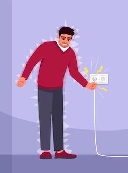 Illustrazione a colori semi rgb con esperienza di scosse elettriche. incidente domestico. lesioni elettriche. il giovane ha sofferto di personaggio dei cartoni animati di elettricità su sfondo viola