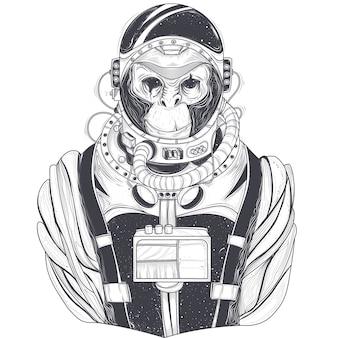 Illustrazione a mano vettoriale disegnata di un astronauta di scimmia, scimpanzé in un abito spaziale