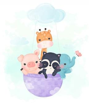 Illustrazione adorabile degli animali del bambino per i bambini