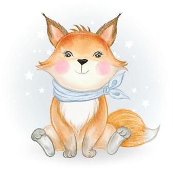 Illustrazione adorabile dell'acquerello della volpe del bambino