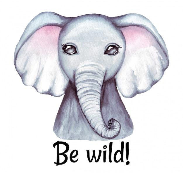Illustrazione adorabile sveglia dell'acquerello del fronte dell'elefante del bambino. doccia di bambino, decorazione della scuola materna isolata su bianco.