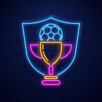 Illustrazione al neon del premio del trofeo di calcio al neon sul fondo del muro di mattoni