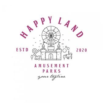 Illustrazione al tratto del logo del parco divertimenti