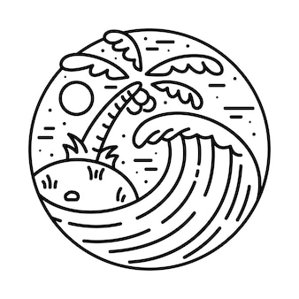 Illustrazione al tratto dell'onda della spiaggia di estate