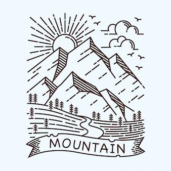 Illustrazione al tratto di mountain view