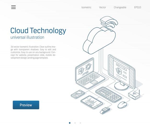 Illustrazione al tratto isometrico moderno di tecnologia di computazione della nuvola. database, server online, set di icone disegnate schizzo di affari di piattaforma internet. concetto di rete di archiviazione delle informazioni.