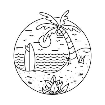 Illustrazione al tratto praticante il surfing della spiaggia di estate