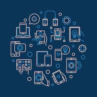 Illustrazione al tratto rotondo di vettore di sviluppo di app mobile e delle app