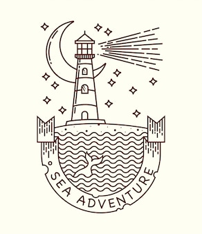 Illustrazione al tratto sea adventure