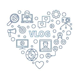 Illustrazione al tratto sottile blu di concetto del cuore di vlog