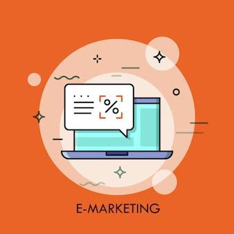 Illustrazione al tratto sottile di e-marketing con il computer portatile