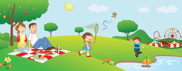 Illustrazione all'aperto del fumetto di picnic della famiglia
