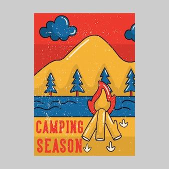 Illustrazione all'aperto dell'annata di stagione di campeggio di progettazione del manifesto