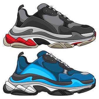 Illustrazione alla moda di scarpe da ginnastica