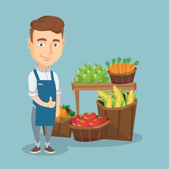Illustrazione amichevole di vettore del lavoratore del supermercato.