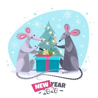 Illustrazione animale dei caratteri del nuovo anno di simbolo del ratto