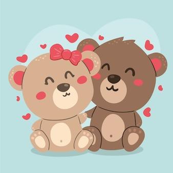 Illustrazione animale delle coppie di giorno di biglietti di s. valentino