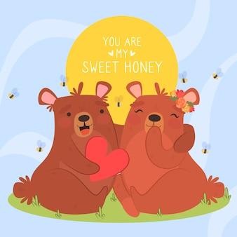 Illustrazione animale delle coppie di san valentino di progettazione piana