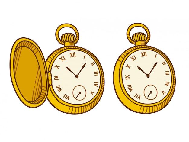 Illustrazione antica dell'orologio da tasca, stile dell'incisione d'annata.