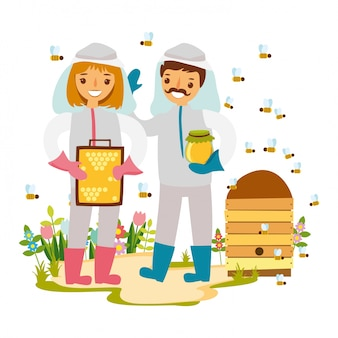 Illustrazione apicoltore