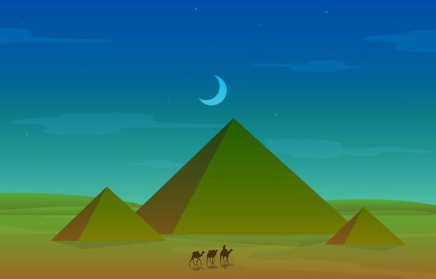 Illustrazione araba del paesaggio del deserto della piramide dell'egitto dell'incrocio della carovana di cammelli