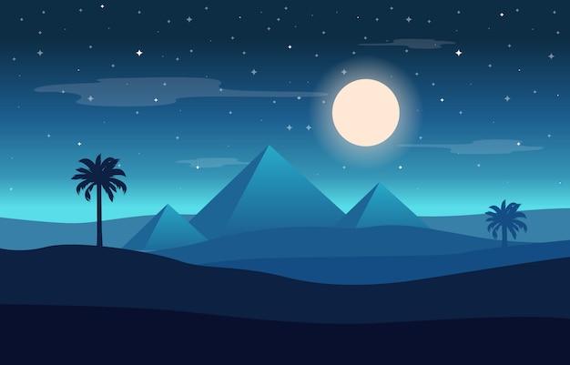Illustrazione araba del paesaggio del deserto della piramide dell'egitto di notte della luna piena