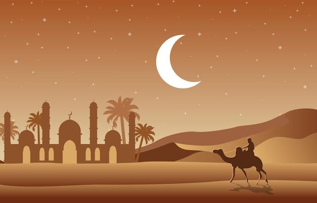 Illustrazione araba del paesaggio dell'albero della palma da datteri della moschea islamica del deserto di notte