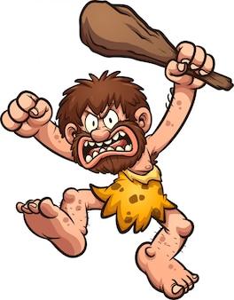 Illustrazione arrabbiato uomo delle caverne