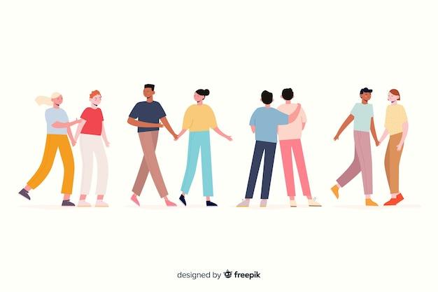 Illustrazione artistica con coppie che camminano