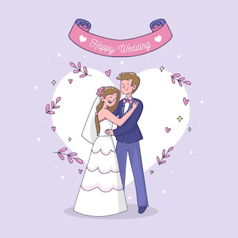 Illustrazione artistica con couplec di nozze