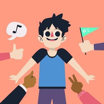 Illustrazione artistica con il concetto di approvazione pubblica
