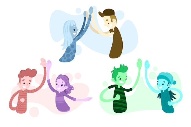 Illustrazione artistica con persone che danno il cinque