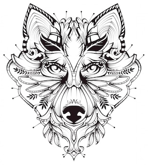 Illustrazione astratta del tatuaggio della testa di cane
